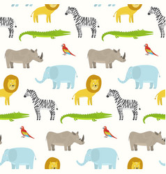 cute cartoon smiling animals pattern vector image
