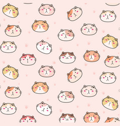 cute cats pattern background vector image