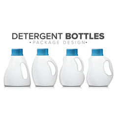 detergent bottle set realistic mock up vector image
