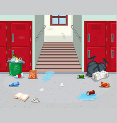 Dirty indoor school hallway vector