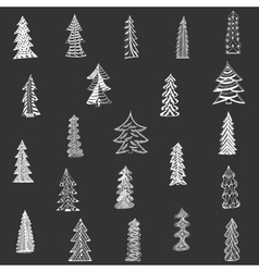 Doodle Christmas Tree Set on black Background vector