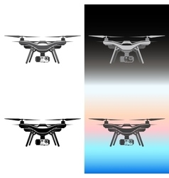 Drone quadrocopter aerial icon set vector