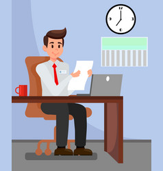 Employer in private office vector