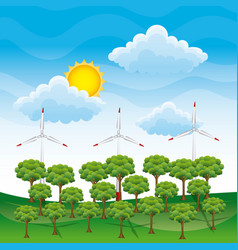 energy clean - landscape forest and wind turbines vector image