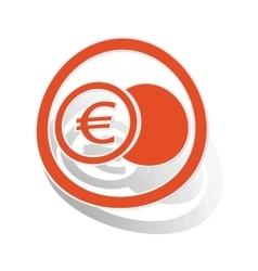 Euro coin sign sticker orange vector
