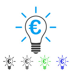 Euro idea bulb flat icon vector