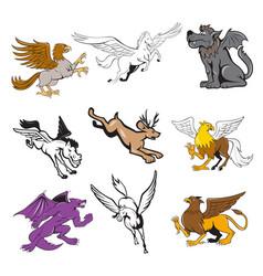 Fabulous beast cartoon set vector