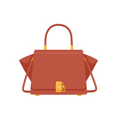 Fashion women trapeze flap bag with handle vector