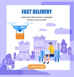 fast drone delivery square banner with copy space vector image