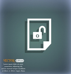 File unlocked icon sign on the blue-green abstract vector