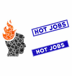 fired head mosaic and scratched rectangle hot jobs vector image