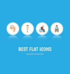 flat icon cripple set of stand disabled person vector image