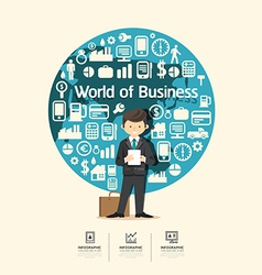 Flat Icons with businessman character design vector image