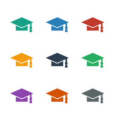 Graduation cap icon white background vector