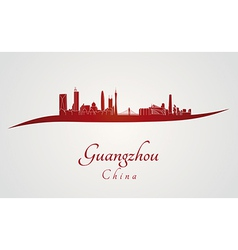 Guangzhou skyline in red vector