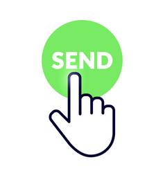 hand cursor icon on green send button vector image