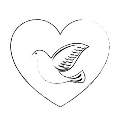 heart with dove of peace icon vector image