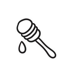 Honey dipper sketch icon vector
