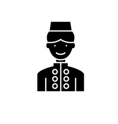 hotel staff black icon sign on isolated vector image
