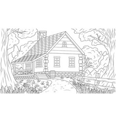 house in forest thicket vector image