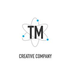 Initial letter tm atom neutron design logo vector