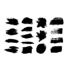 ink brush stroke black set grunge isolated vector image