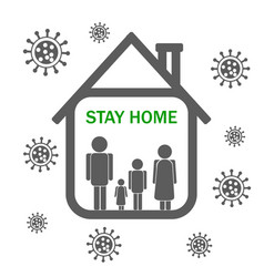 keep calm and stay home with family isolation vector image
