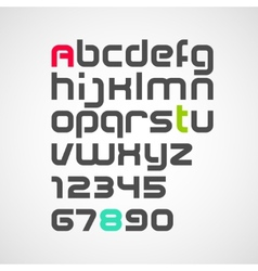 Latin alphabet letters and numbers vector