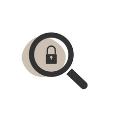 Magnifying glass looking for a padlock isolated vector