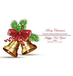 Merry christmas card with jingle bell isolated vector