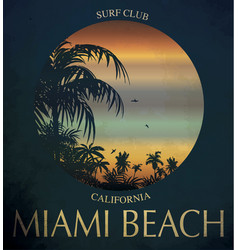 Miami beach surf club concept summer surfing vector