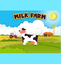 Milk farm in modern paper art vector