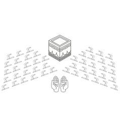 Muslims praying in kaaba line vector