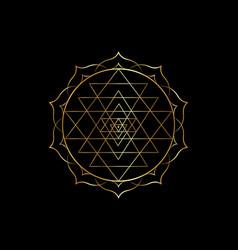 Mystical mandala sri yantra sacred geometry vector
