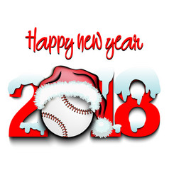 New year numbers 2018 and baseball ball vector