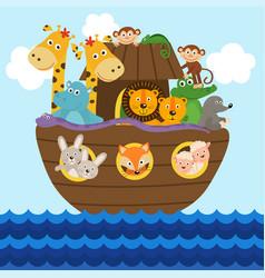 Noah ark full animals aboard vector