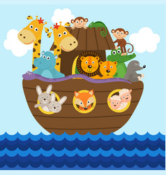 Noah ark full of animals aboard vector