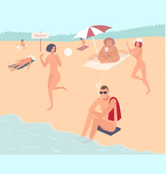 nudist beach nude people mans and womans relax vector image