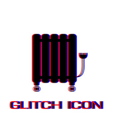 oil filled radiator heater icon flat vector image