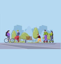 people riders in urban park outdoor sport vector image
