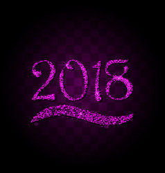 pink purple particles wave in form of 2018 vector image