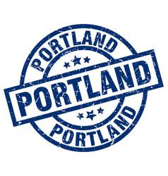 portland blue round grunge stamp vector image