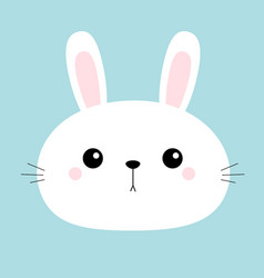 Rabbit bunny head face round icon cute cartoon vector