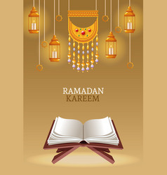 Ramadan kareem with koran and lamps vector