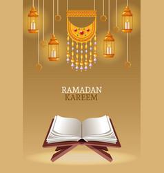 Ramadan kareem with koran and lamps vector