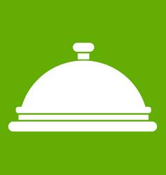restaurant cloche icon green vector image