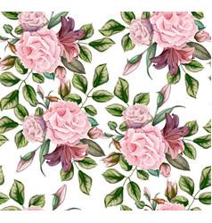 rose flower blossom leaf seamless pattern vector image