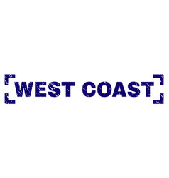 Scratched textured west coast stamp seal inside vector