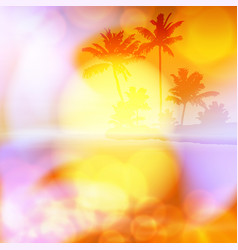 sea summer sunset with palm tree and light on lens vector image