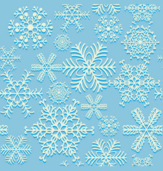 Seamless snowflakes pattern blue and white vector